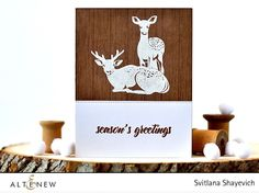 What an amazing wood textured card! The white embossed deer looks lovely on the wooden background panel and sentiment stands out on white panel. http://altenewblog.com/2016/10/19/stamp-focus-modern-deer/