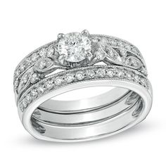 1.00 CT. T.W. Diamond Vine Bridal Set in 14K White Gold  - Peoples Jewellers