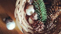 Felt Acorns and Gold Painted Pinecones for the second week of Winter Solstice