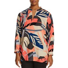 Vince Camuto Plus Modern Tropics Leaf Print Tunic ($115) ❤ liked on Polyvore featuring plus size women's fashion, plus size clothing, plus size tops, plus size tunics, coral passion, graphic tunic, graphic tops, vince camuto tops, coral top and coral tunic