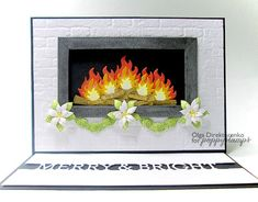 I guess one of my New Year resolutions will be to install a fireplace at home for it is really a heart of the house. Real one seems to be a lot of work so I'm thinking of an electric fireplace or the one to put candles in. Merry Christmas And Happy New Year, 1st Christmas, Christmas Crafts, Modern Fireplace Mantles, Modern Fireplaces, Installing A Fireplace, Fire Crafts, Easel Cards, Cricut Cards
