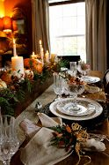 Thanksgiving tablescape with trough centerpiece.