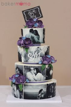 Photo Wedding Cake All buttercream cake. The photos were printed on edible icing paper with gum paste orchids.