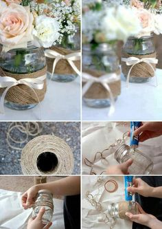 DIY twine jars- cute for center pieces during cocktail hour with hydrangeas