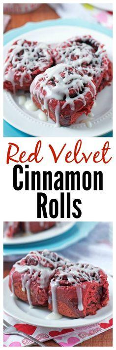 Red Velvet Cinnamon Rolls. Easy overnight recipe that's perfect for Christmas or Thanksgiving breakfast and brunch!