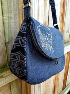 Concealed Carry Purse Sewing Pattern, Madge CC Purse Pattern, Concealed Carry Purse Pattern, CC Fold Over Bag, Concealed Carry Cross body Denim Handbags, Denim Tote Bags, Bag Patterns To Sew, Sewing Patterns, Concealed Carry Purse, Denim Crafts, Fabric Bags, Handmade Bags, Backpack Bags