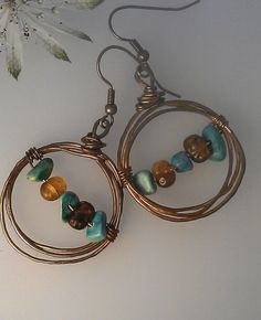 Boho Copper Hoop earrings with blue turquoise by ForgedByFaeries, £13.00
