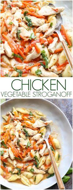 Recipe how to make Chicken Stroganoff with Vegetables over pasta shells. #chickenstroganoff #russianfood #stroganoff #creamypasta