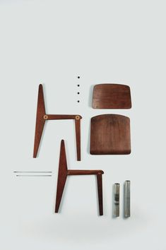 Standard chair, Powder-coated sheet steel, Oak, Jean Prouvé for Vitra, 1930.
