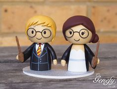 Cute wizard wedding cake topper - Harry Potter wedding cake topper by GenefyPlayground