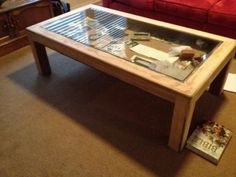 How to Build Glass Top Shadow Box Coffee Table - Couchtisch Coffee Table Display Case, Shadow Box Coffee Table, Window Coffee Table, Coffee Table Images, Coffee Table Plans, Glass Top Coffee Table, Cool Coffee Tables, Coffe Table, Coffee Table Design