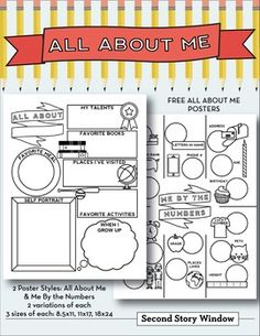 FREE All About Me and Me By the Numbers Posters | by Second Story Window