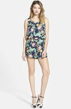 Filtre Double Layer Floral Sleeveless Romper $40.80