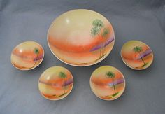 """$65 - 1920s Antique NIPPON NUT BOWL Set Hand Painted . . . By CoolOldStuffForSale . . . Exquisite hand painted antique gilt footed nut bowls with the serene """"Tree in Meadow"""" design at sunset. These are fabulous Nippon porcelain and all are in mint, as new condition, and all have the green crown mark!"""