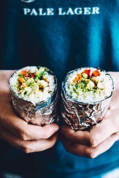 How to Make a Sushi Burrito by healthynibblesandbits #Sushi #Burrit #Sushrrito