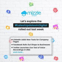 With each passing day, the digital world is getting updated and evolved. Here we are sharing some of the Digital updates rolled out recently. To know more about Mizzle Mobile Application Development, Design Development, Web Platform, Social Environment, Best Web Design, Web Design Company, Cool Websites, Product Launch, Internet Marketing
