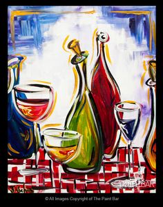 Funky Colorful Wine Bottles Painting