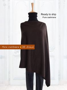 Pure cashmere poncho / Poncho / Cape / Pure cashmere by SoftyWooly Cashmere Poncho, Custom Made, Cape, Normcore, Turtle Neck, Pure Products, Trending Outfits, Sweatshirts, Brown