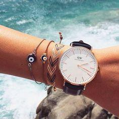 evil eye bracelets + daniel wellington watch