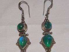 Vintage Moonstone Sterling Silver Earrings by MerakiByMe on Etsy