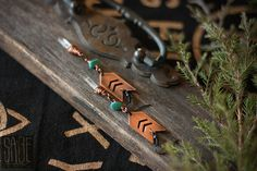 kayenta // copper chevron earrings with quartz crystal & turquoise howlite sold by Sage Fox. Shop more products from Sage Fox on Storenvy, the home of independent small businesses all over the world.