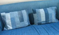 Denim sofa covers, Squeeze your brain a little to remember the most durable outfits you had or still have and you will find out that a lot of them are made of denim. Denim in clothes like jeans never Jean Crafts, Denim Crafts, Reuse Jeans, Denim Sofa, Cushions On Sofa, Pillows, Denim Ideas, Recycled Denim, Pillow Covers