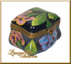 Classic Blue and Pink Irises Limoges box - Retired