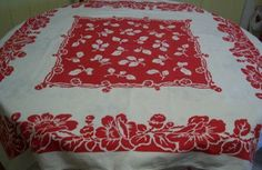 Vintage Tablecloth Red and White