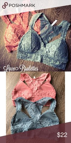 Lace Bralette's Lace razor back padded bralette's color mauve and dusty blue. Each sold separately. One size fits most. Threads & Trends Intimates & Sleepwear Bras