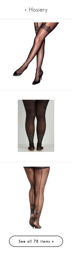 """""""+ Hosiery"""" by kellymailinglist ❤ liked on Polyvore featuring tights, plussize, stockings, hosiery, intimates, black, black tights, lace tights, plus size tights and plus size suspender tights"""