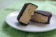Healthier Homemade Klondike Bars using PB2 Peanut Butter and Dark Chocolate for the coating. Mmmmm!