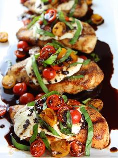 Grilled Chicken Caprese with Balsamic Sauce Image - a healthy grilled recipe! #chickenrecipeshealthyclean