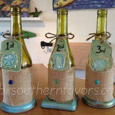 wine bottles wrapped in burlap