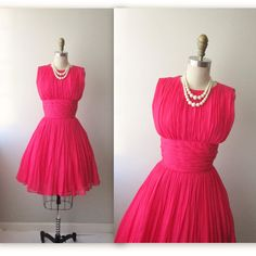 50s Chiffon Dress // Vintage 1950s Hot Pink by TheVintageStudio, $68.00