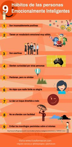 9 hábitos de las personas Emocionalmente Inteligentes #infografia