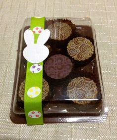 Caixa de bombons transfer maciços com 6 unidades. Chocolate Belga R$ 15,50