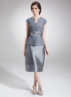 Sheath V-neck Knee-Length Taffeta Lace Mother of the Bride Dress With Beading (008006293)