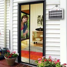 MAGZO Magnetic Screen Door 34 x Reinforced Fiberglass Mesh Curtain Back Door Mesh with Full Frame Hook&Loop Fits Door Size up to Max-Grey
