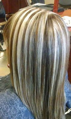 Platinum Highlights And Dark Brown Lowlites Hair