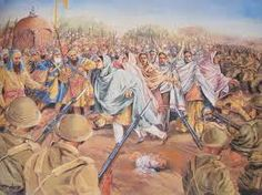 At Panja Sahib (Respected Mark Of The Hand),    Sikh Women rush the police line with their children to claim martyrdom  for the everlasting glory of  their Religion . And free the Sikh Gurdwaras from the Hindu Yogic Masters.