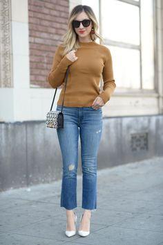 Celine Sunglasses, Won Hundred Sweater, Mother Jeans, Lizzie Fortunado Earrings, Manolo Blahnik Pumps, ZAC Zac Posen Bag