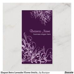 Shop Elegant Retro Lavender Flower Swirls 3 Business Card created by Ruxique. Business Slogans, Business Cards, Dark Purple Background, Turquoise Flowers, Lavender Flowers, Color Card, Business Profile, Swirls, Floral Design