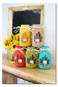 fall mason jar craft idea - such a cute decor or gift idea - - Sugar Bee Crafts