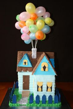 """This was for a close family friend's birthday. His wife loved the movie """"Up"""" so much that she thought of putting up an """"Up-themed"""" birthday party with all the colorful balloons and decorations. Wedding Cake Designs, Wedding Cakes, Beautiful Cakes, Amazing Cakes, Gelatin Bubbles, Gravity Defying Cake, Disney Pixar Movies, Colourful Balloons, Birthday Party Themes"""