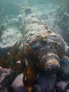 Canon from the 1700s found at the Gun Rock wreck, Farne Island, Lindisfarne Castle