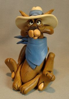 Cowboy Cat Sculpture Free Shipping by RexBenson on Etsy, $64.00