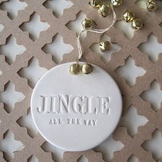 Jingle All the Way ornament with text and gold bells by Paloma's Nest on etsy.com