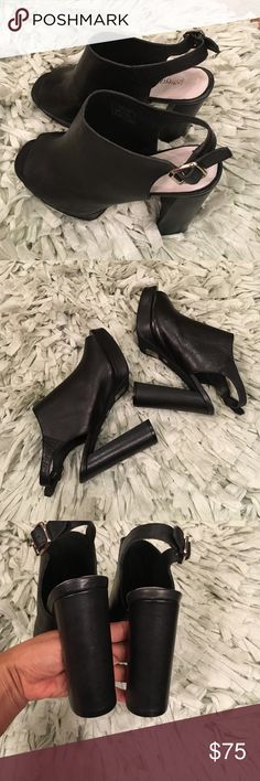 Jeffery Campbell Payola platform sandal Black leather playform sandal, size 8.5, worn twice, great condition, no trades Jeffrey Campbell Shoes Sandals