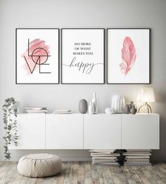 Blush Pink Wall Art Set of 3 Prints Bedroom Wall Art Girls Room Decor Do More of What Makes You Happy Inspirational Quote Love Sign Wall Art Pink Wall Art, Wall Art Sets, Diy Framed Wall Art, Living Room Decor, Bedroom Decor, Bedroom Prints, Pink Walls, Diy Wall Decor, Bedroom Wall Decorations
