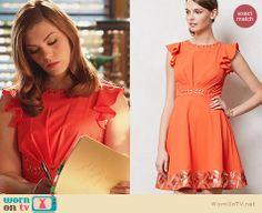 AnnaBeth's orange flutter sleeve dress on Hart of Dixie.  Outfit Details: http://wornontv.net/31463/ #HartofDixie